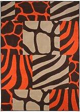 Tapis motif patchwork ethnique marron et orange