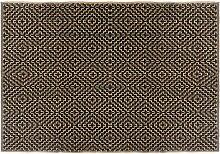 Tapis noir en jute   coton 120x170 cm