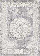 Tapis orient style en polypropylène gris 80x300