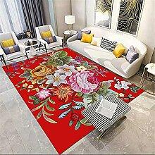 Tapis Pastel Rouge Chambre À Coucher Motif Floral