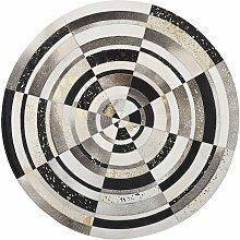 Tapis patchwork en cuir multicolore rond ø140 cm