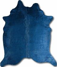 Tapis peau de vache bleu 220x180