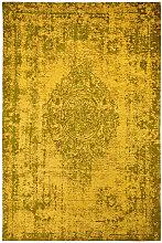 Tapis plat effet vintage rectangle Shipa Jaune