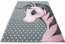 Tapis rectangle pour chambre de bébé licorne