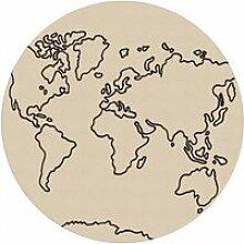 Tapis rond carte du monde 80 x80 cm