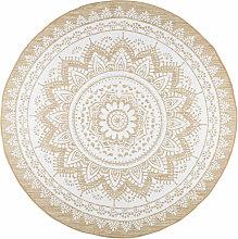 Tapis rond en jute et coton blanc D180