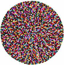 Tapis rond en laine feutrée fait main multicolore