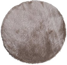 Tapis rond shaggy DOLCE taupe reflet beige - D.120