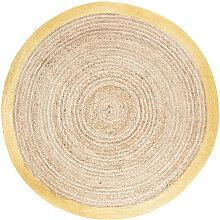 Tapis rond tressé en jute et coton contour doré