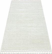 Tapis SEVILLA AC53B rayures blanc Franges berbère