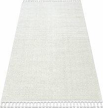 Tapis SEVILLA PC00B rayures blanc Franges berbère
