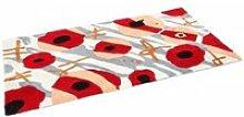 Tapis shaggy 120 x 180 rouge gris motif fleurs 1225