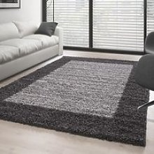 Tapis Shaggy - 160x230 cm - Gris et Blanc