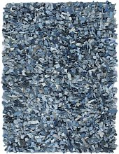 Tapis Shaggy Denim 160x230 cm Bleu