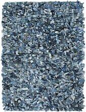 Tapis Shaggy Denim 190x280 cm Bleu