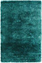 Tapis shaggy doux en Polyester Bleu turquoise