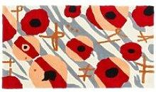Tapis shaggy gris/rouge/noir avec motif 80x120 cm