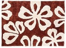 Tapis shaggy marron avec motif fleurs 160x230 cm