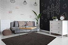 Tapis Shaggy Moderne pour Salon - Noir