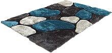 Tapis shaggy PIETRA turquoise et gris - polyester