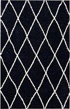 Tapis shaggy polypropylène noir 67x180