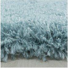 Tapis shaggy rond FALMA 160x160 Bleu - Bleu