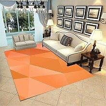 Tapis Table Basse Orange Tapi Salon Abstrait