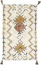 Tapis Trishna coton motifs berbères pompons