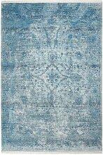 Tapis vintage à courtes mèches Akar Bleu 80x150