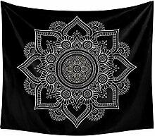Tapisserie de Mandala noir tapisserie de Mandala
