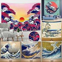Tapisserie de paysage de plage japonais,