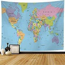 Tapisserie murale Carte du monde colorée