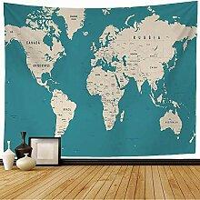 Tapisserie murale carte du monde plat Vintage
