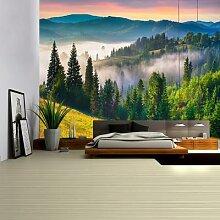 Tapisserie murale grand arbre de forêt verte,