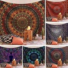 Tapisserie murale imprimée Mandala, tapis de