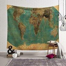 Tapisserie murale motif carte du monde, couverture