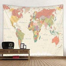 Tapisserie murale suspendue carte du monde, carte