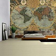 Tapisserie murale Vintage carte du monde 3D, tissu