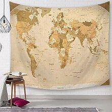 Tapisserie Murales,Carte du Monde Détaillée