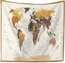 Tapisserie Murales, Carte du Monde Simple Couleurs
