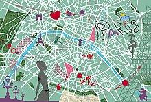 Tapisserie poster panoramique PATCH PARIS 4 x 2,70