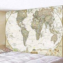 Tapisseries,Ancienne Carte Du Monde Avec Le Nom Du