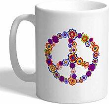 Tasse à café 11 onces signe de paix fleurs