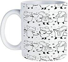 Tasse à café avec motif de souris de dessin