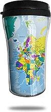 Tasse à café colorée de voyage de carte du