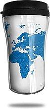 Tasse à café de voyage de carte du monde bleue