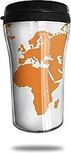 Tasse à café de voyage de carte du monde orange,
