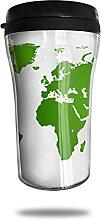 Tasse à café de voyage de carte du monde verte