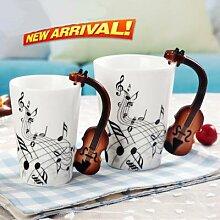 Tasse à café écologique de 300ml, avec violon,