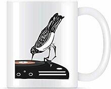 Tasse à café en vinyle à disque de musique